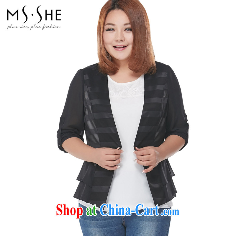 MSSHE XL girls 2015 new summer commute a kernel for cultivating V collar jacket 2797 black 3 XL