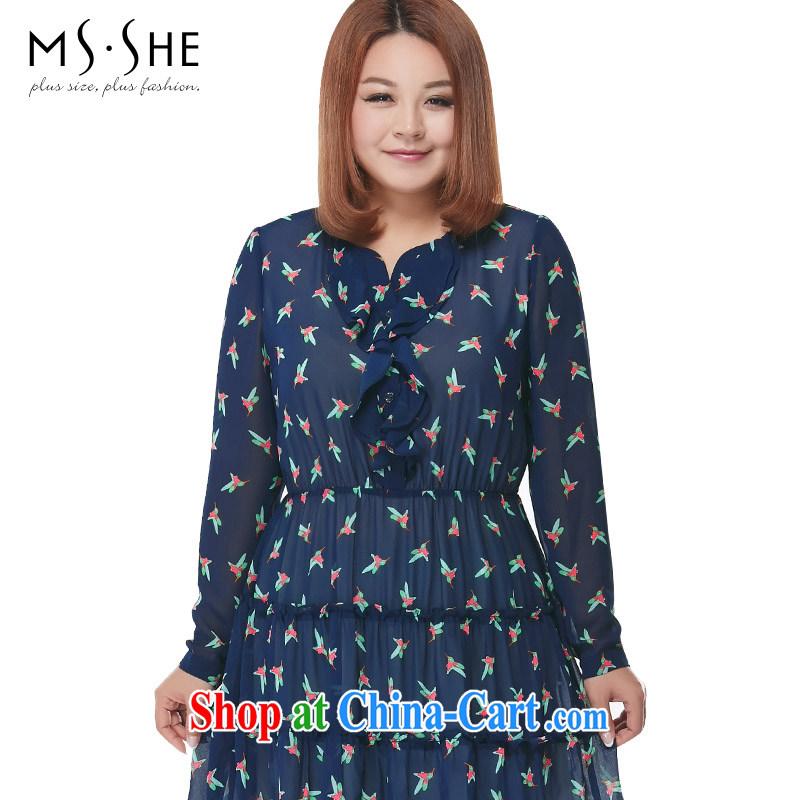 MSSHE XL women 2015 spring flouncing round-collar stamp snow woven dress shirt 2728 blue 6 XL