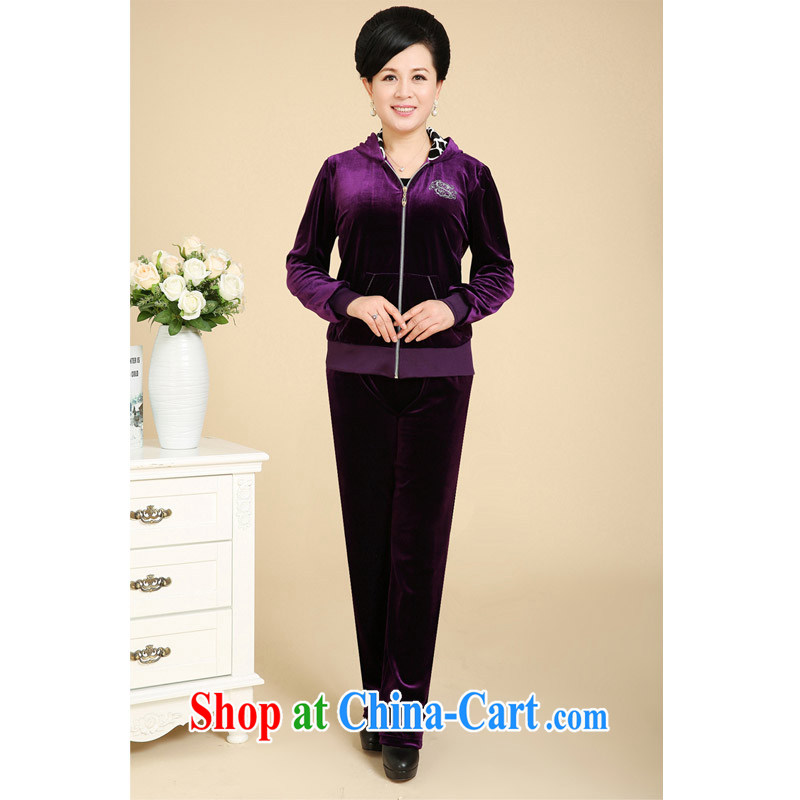 civicknight 2015 spring new middle-aged and older gold velour kit, jacket mom with middle-aged and leisure, for uniforms purple XXXXL