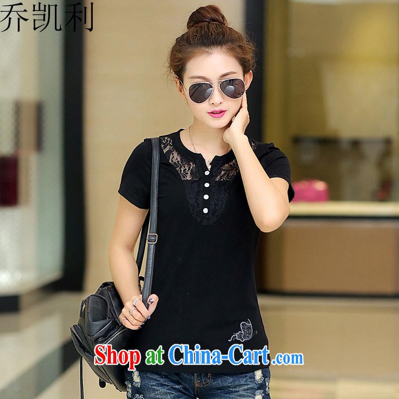 Joe Kelly's big, female 2015 summer new Korean video thin T-shirts female short-sleeved T-shirt solid black 2 XL _125 - 140 _ jack