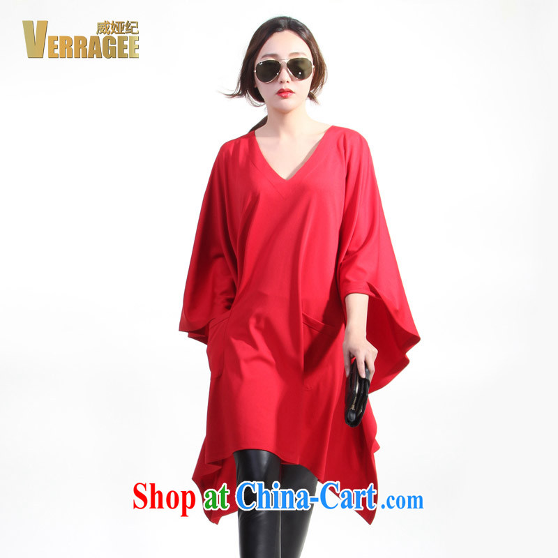 Julia Wei Ji_verragee 2015 spring new products in Europe bat sleeves leisure loose video thin dresses larger female H 50 ~ 52 red H50 code