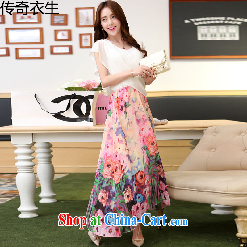 Legendary Yi Sheng 2015 summer new, larger female thick MM graphics thin ice woven floral beach dress C 9144 white L