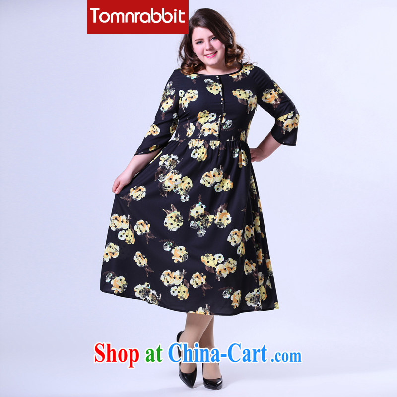 2015 spring new and indeed XL thick sister graphics thin female digital stamp dress long skirt picture color the code 3 XL