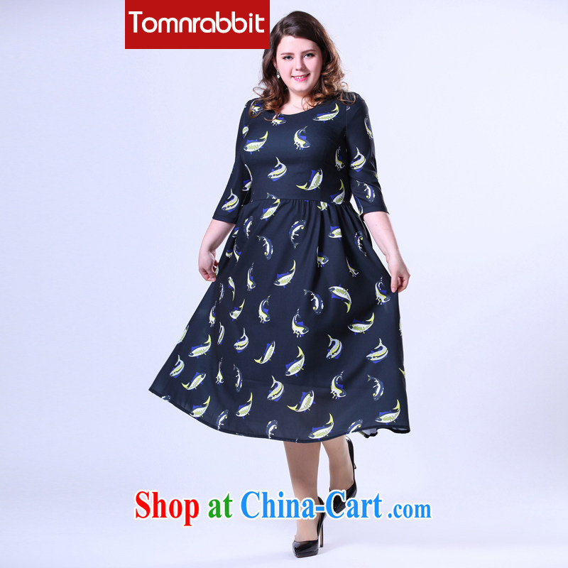 200 Jack thick sister spring new larger female American code stamp dress ultra graphics slim skirt picture color the code 5 XL