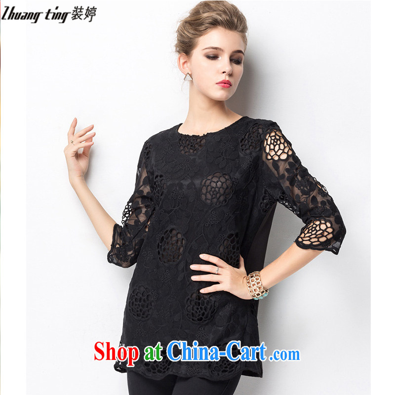 Replace-ting zhuangting fat people graphics thin 2015 spring new large code female high-end Europe is the increased emphasis on sister lace shirt 1323 XXXXL