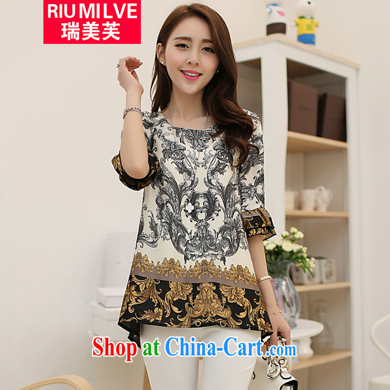 Ryan and the United States concluded the fat XL female 2015 mm thick spring and summer with Korean version 5 sleeve and stamp T shirts snow woven shirts loose girls T-shirt 1621 S XXXL suit