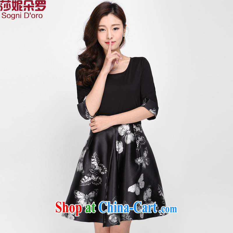 Laurie flower, the Code women summer wear thick sister silk and indeed intensify dress thick girls with graphics thin, 1118 high-end black 4XL (recommendation 160 about Jack wear)