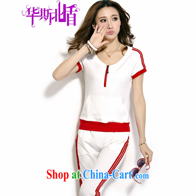 New Products summer leisure package girl, Korean Sports Kit female short-sleeved badminton sweat two-piece female white and red XXL