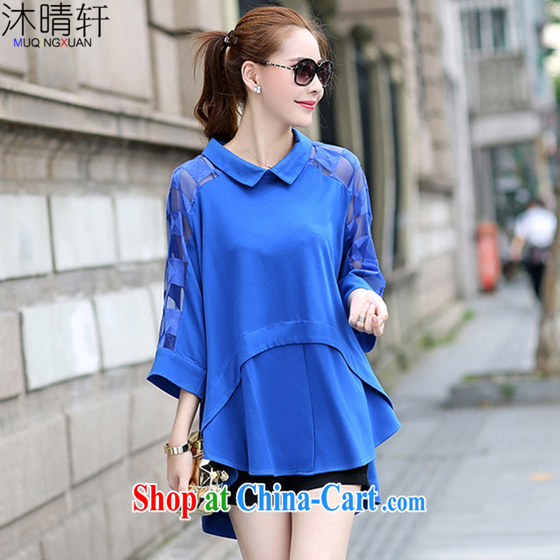 Mu Qing Xuan 2015 spring and summer with new Korean version web yarn large, female with loose shirt thick girls. With thin, T-shirt, blue XL - recommendations 135 - 155 jack wear