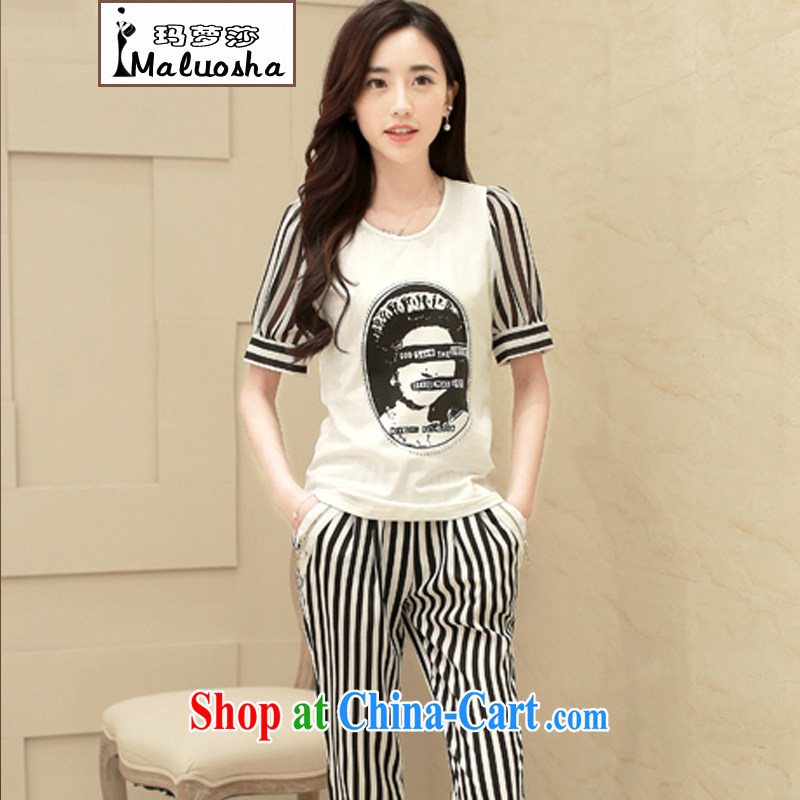 Margaret Elizabeth Kahlo's summer 2015 new Korean Beauty girls and stylish T-shirt + striped pants two-piece sport and leisure Package white XL