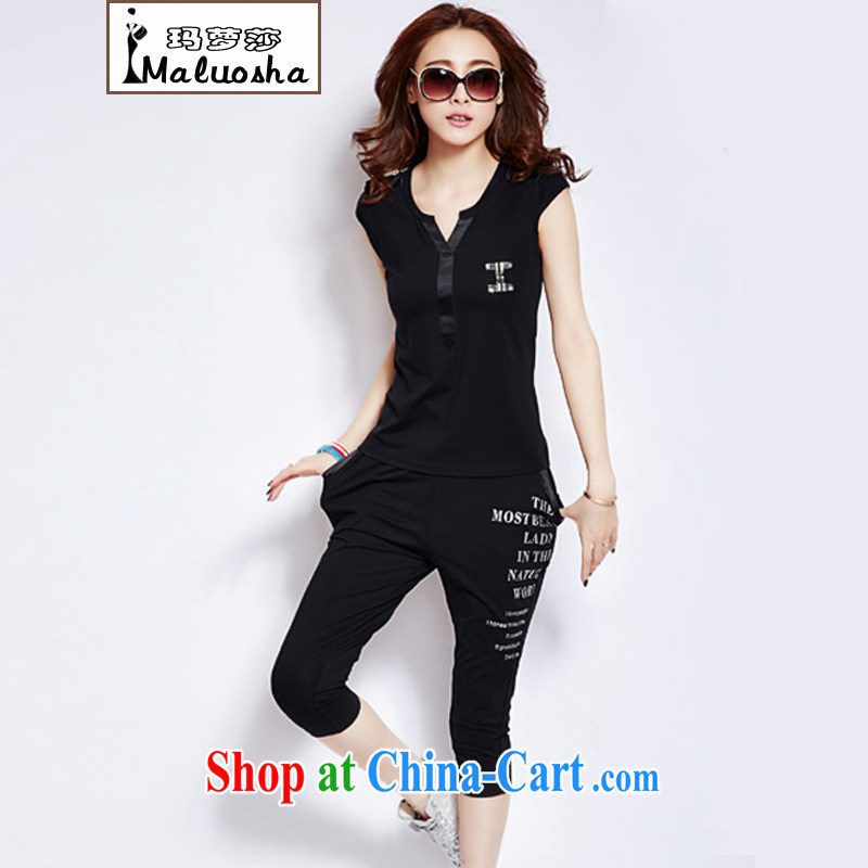Margaret Elizabeth Kahlo's 2015 new summer half sleeve Korean sports package and stylish large, short-sleeved pants stamp kit two-piece black XL
