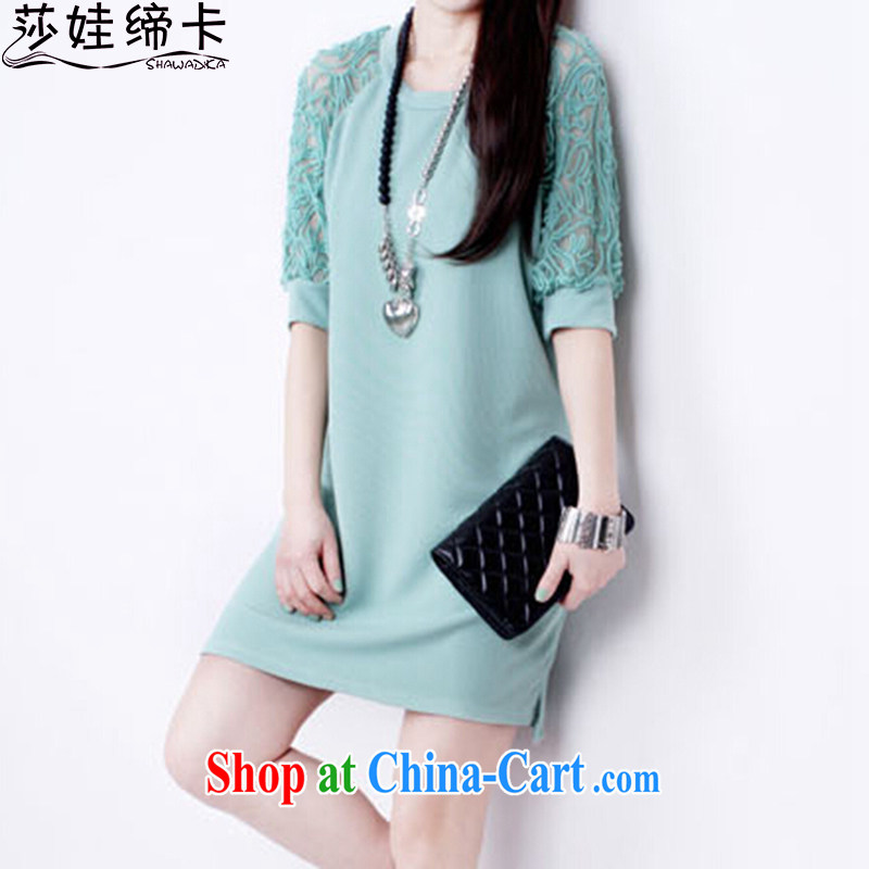She concluded her card thick girls with graphics thin, 2015 Korean version the code lace bare shoulders dress loose T-shirt, sleeve 100a female long light green XXL 115 to 125 jack to wear