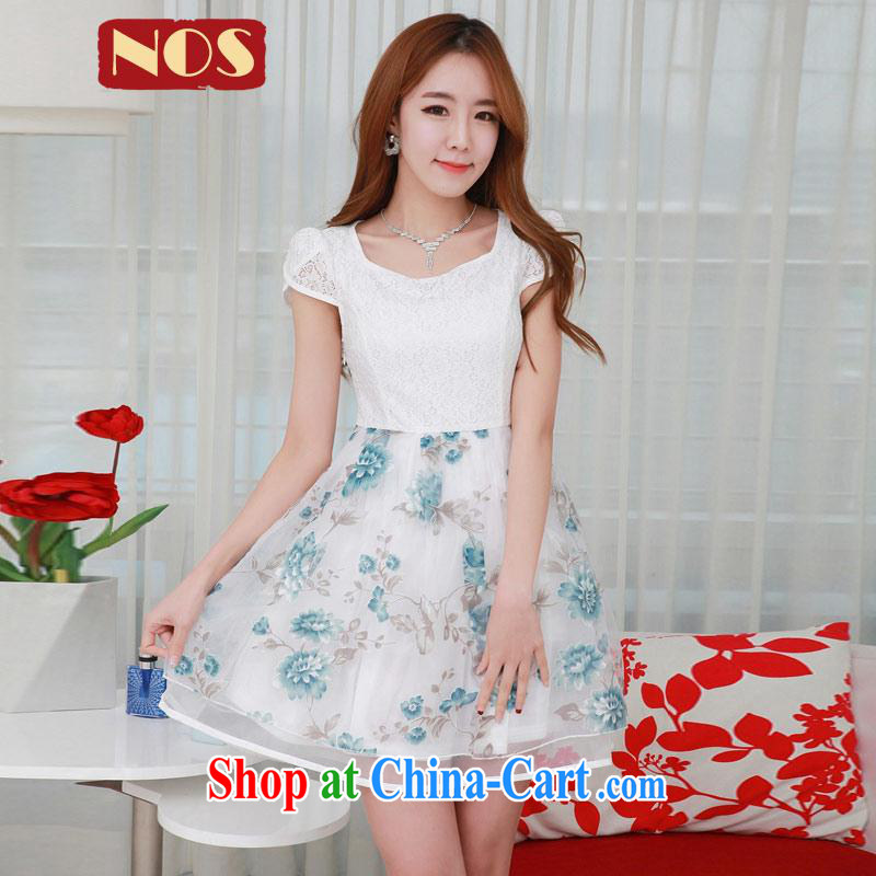 Summer NOS new Korean version the code dress stylish lace European root yarn stamp graphics thin dresses Q 983,591 large blue code 4 XL