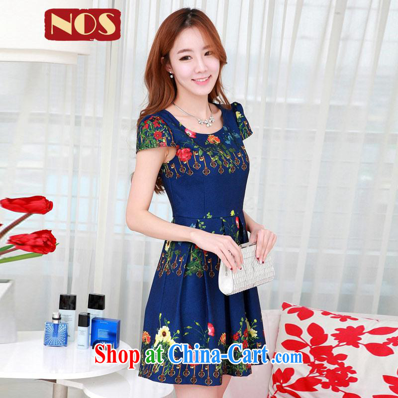 Summer NOS new larger female Korean dresses key stamp stylish and simple 100 hem skirt dresses Q 111,321 Po large blue code 2XL