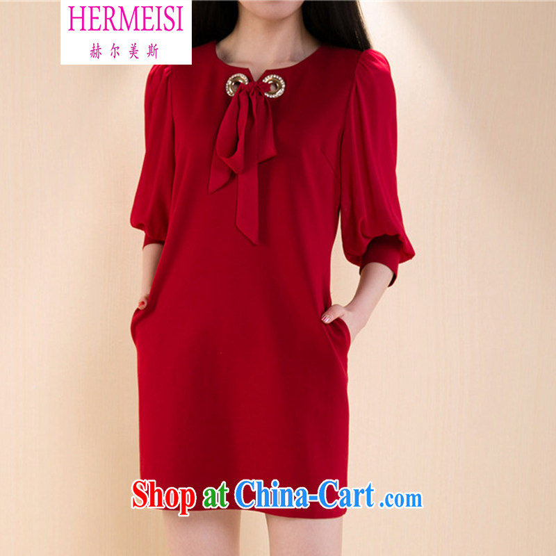 The Helms-Burton Act, the 2015 spring and summer new stylish thick sister and indeed XL girls decorated in graphics thin stitching snow woven 7 cuff dress 22,368 _red XXXL