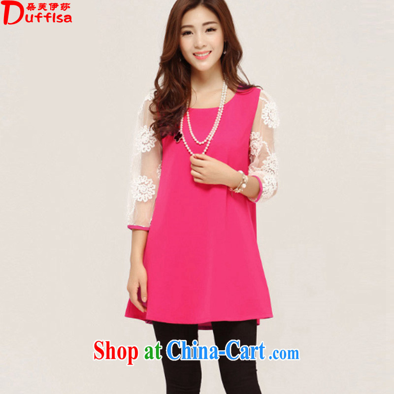flower girl Isabelle 2015 spring and summer new Korean version thick MM and indeed XL loose video thin lace 7 cuff dress female D 1556 by red 4 XL