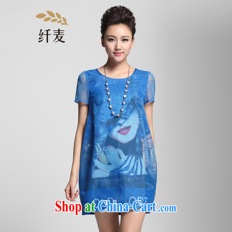 The Mak is the women's clothing 2015 summer new thick mm stylish cocoon-relaxed dress 952103042 blue 6 XL