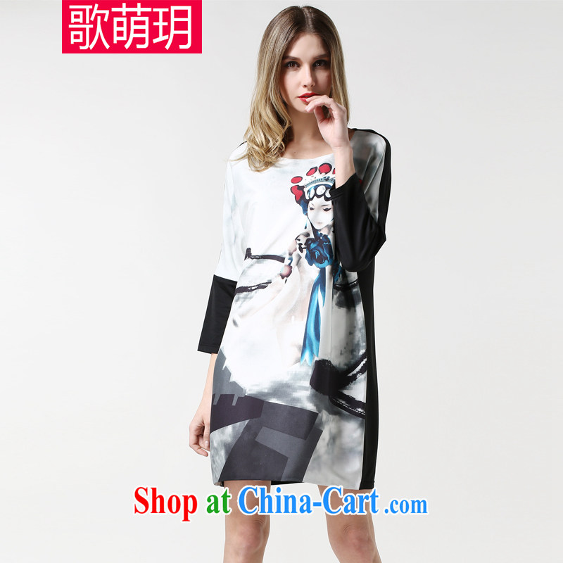 Song Meng Yin Yue XL women 2015 spring loaded new stamp pattern dresses SN 1889 white 2XL _135 - 150 _ jack