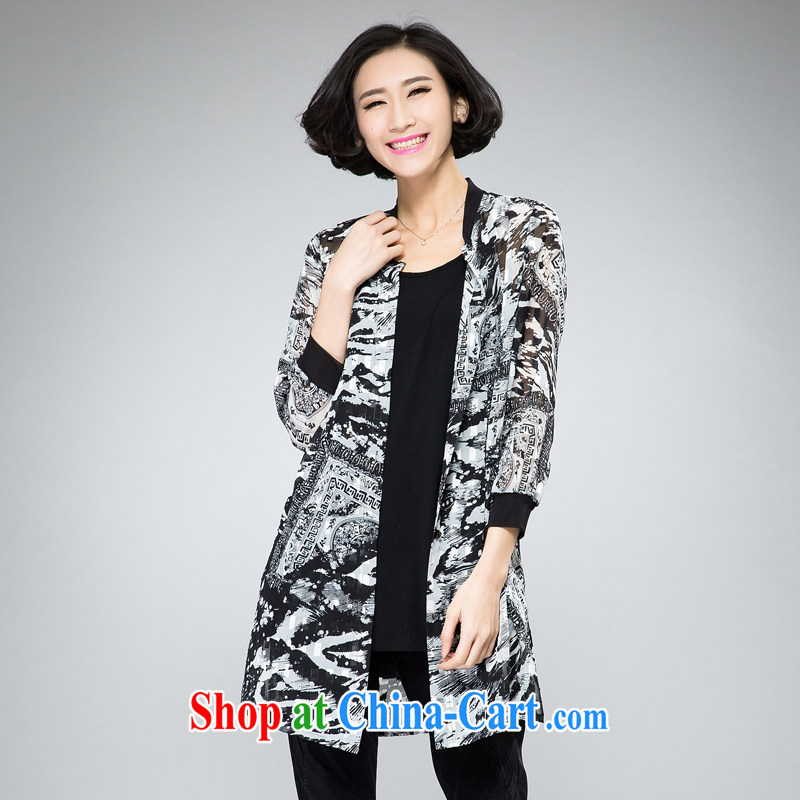 Indeed the XL 2015 summer new 100 ground Palace antique stamp duty on T-shirt, long jacket, and indeed increase, female fat mm spring loaded black XXXL