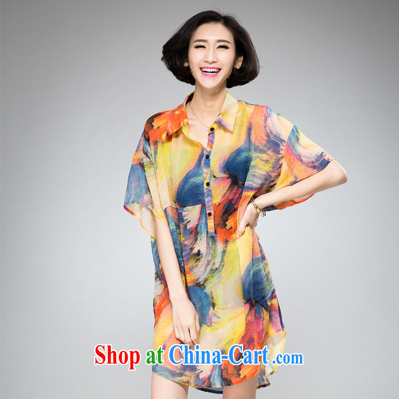 2015 spring loaded New, and indeed increase, female dress mm thick loose video thin stamp thick mm XL female ethnic wind stamp dresses yellow XL