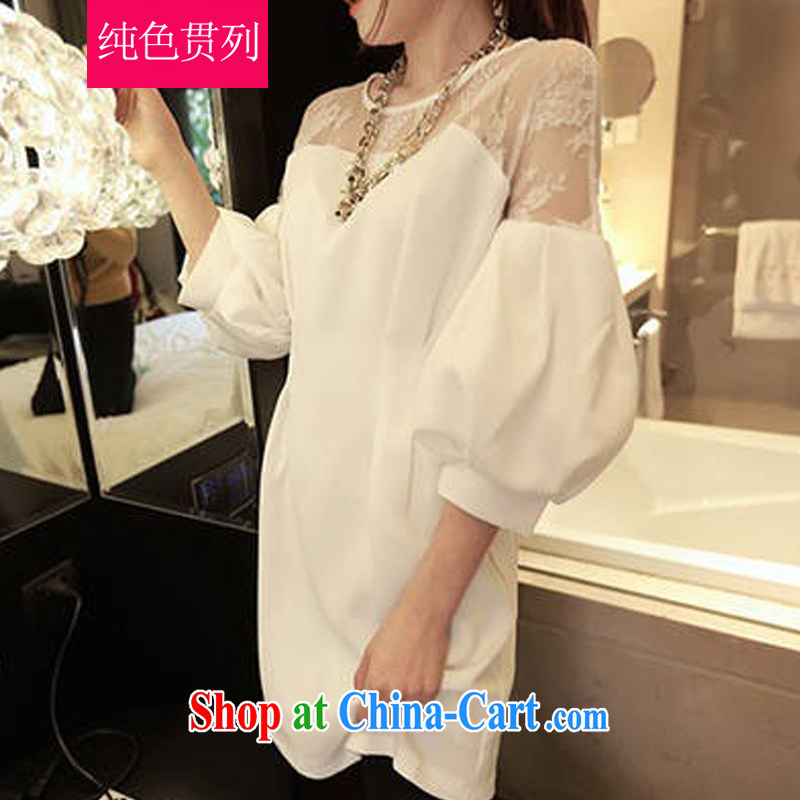 Solid Color has always been the 2015 spring and summer, the increase in Europe and America, female loose thick mm video thin and thick, long lace shirt long-sleeved solid dress girls white XXXL