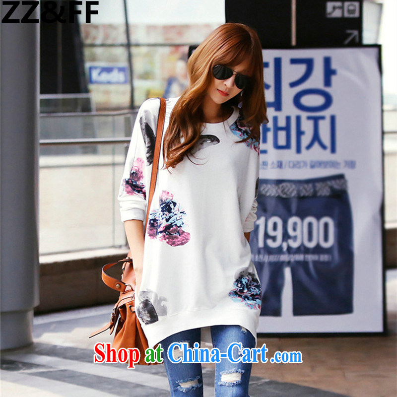 ZZ _FF 2015 summer new, larger female stamp loose long-sleeved shirt T Korean Sports _ Leisure long-sleeved T-shirt bat solid T-shirt T-shirt white XL