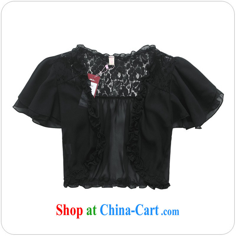 The delivery package as soon as possible e-mail XL female small shawl new summer wear sunscreen clothing flouncing short-sleeve snow woven cardigan small jacket dress shawl White Black XXXL approximately 150 - 165 jack