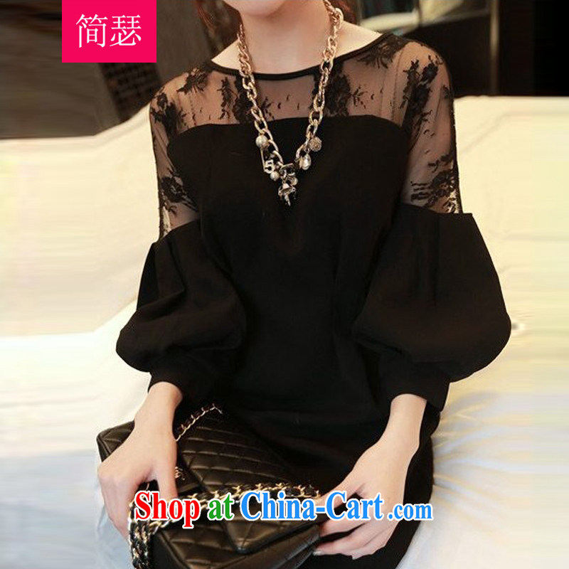 In short Joseph's 2015 spring and summer, the United States and Europe increased, female loose thick mm video thin and thick, long lace shirt long-sleeved T-shirt solid dress girls black XXXL