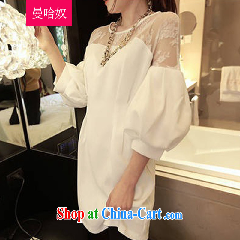 Cayman, slavery 2015 spring and summer, the increase in Europe and America, female loose thick mm video thin and thick, long lace shirt long-sleeved T-shirt solid dresses white XXL