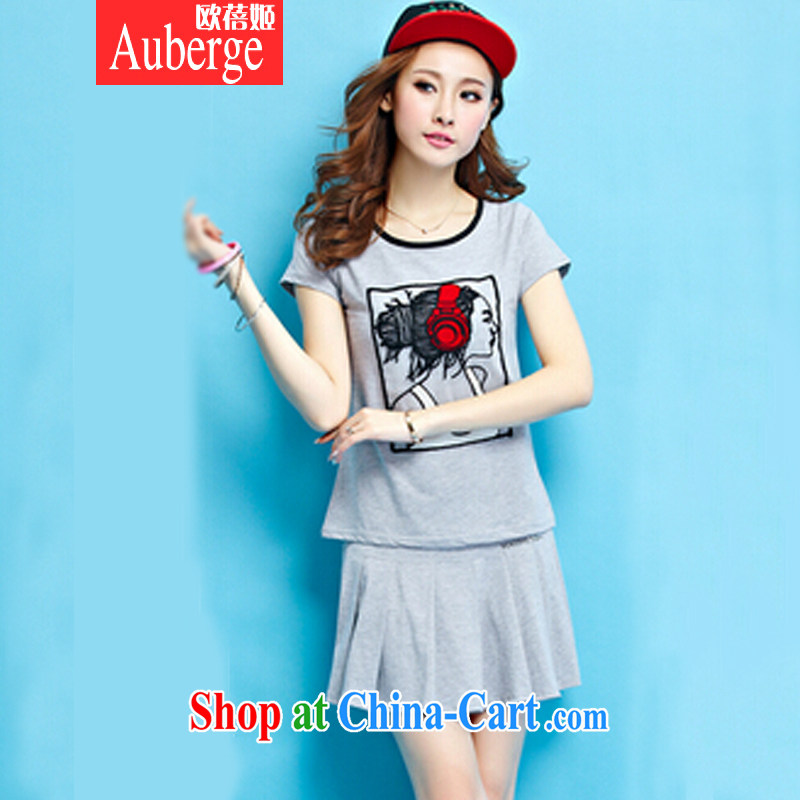 The Pei-hee summer 2015, Korean Beauty Sports _ Leisure package fashion round collar embroidery stitching short sleeve with light gray XL