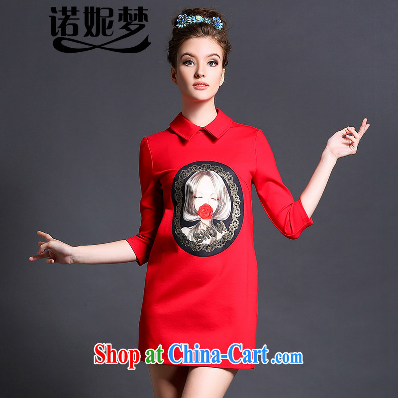 Connie's dream high-end European and American 2015 spring new dresses and indeed XL female 200 Jack lapel lovely stamp 7 cuff short skirts G 5108 red XXXXXL