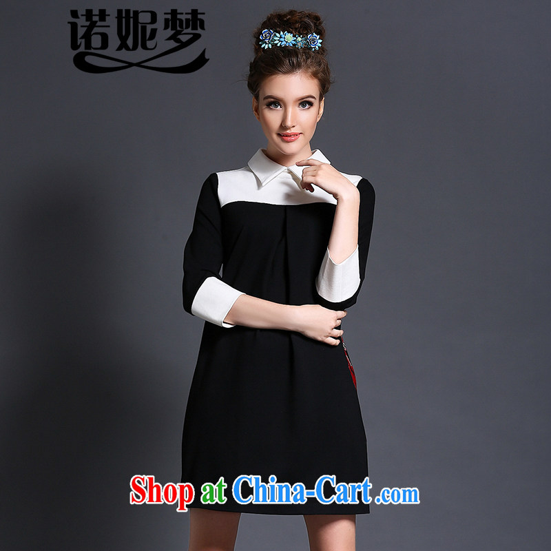 The Connie was a high-end European and American and indeed XL female 200 Jack 2015 spring new stylish black-and-white knocked color embroidery graphics thin dresses G 1561 black XXXXXL