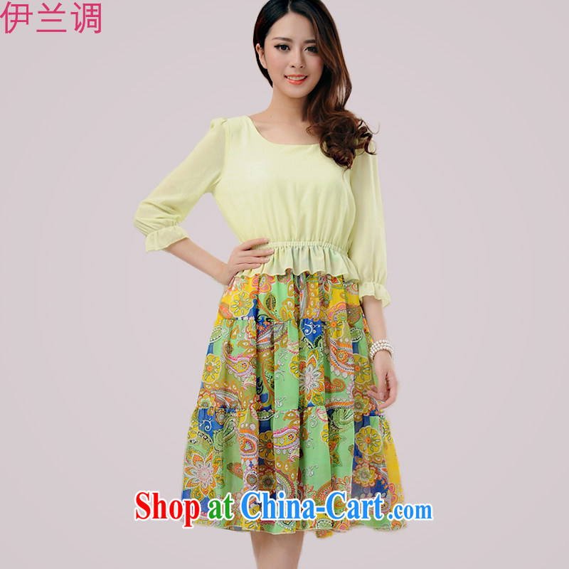 Iraq, the 2015 summer new, larger ladies dress mm thick short-sleeved snow woven new Korean spring spring spring 2187 green XXXXL