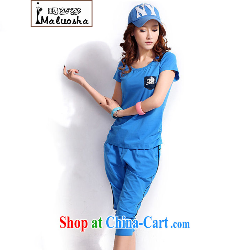 Margaret Elizabeth Kahlo's 2015 new summer sport and leisure fashion Korean short-sleeved 7 Trouser press kit two-piece blue XXL