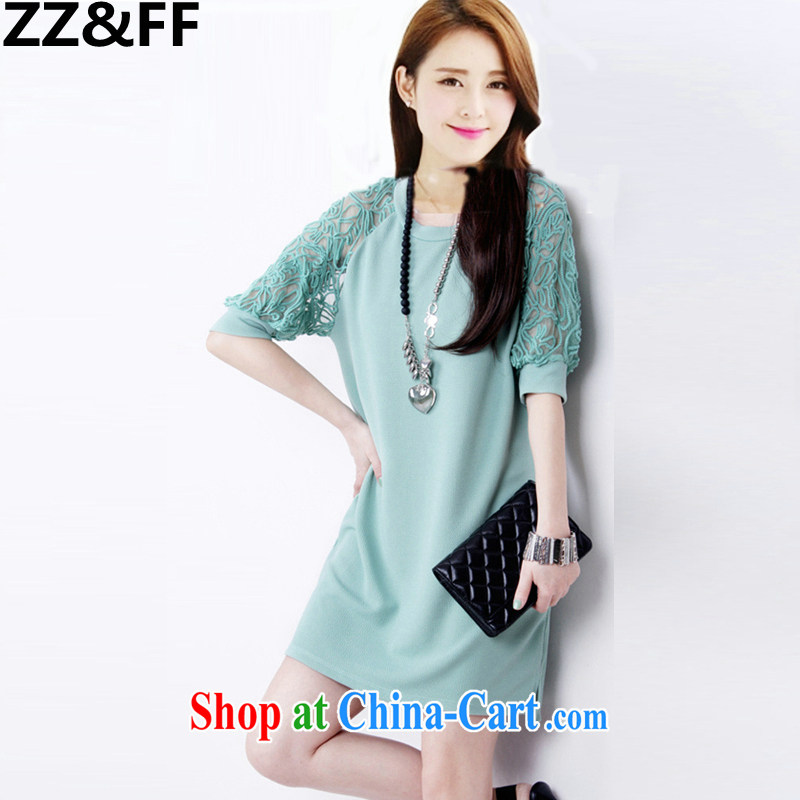 ZZ _FF 2015 summer new products in Europe and loose video thin lace stitching short-sleeved snow woven dresses and indeed XL female mint green XXXXXL