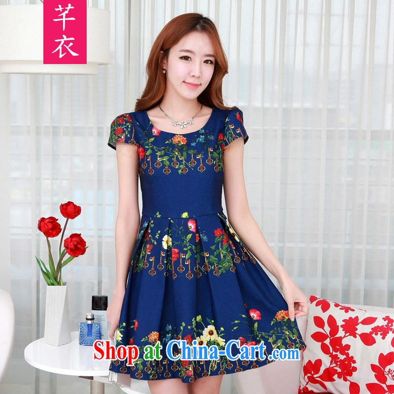 Constitution, 2015 new, thick mm summer China wind stamp duty bubble short-sleeved round-collar workers field hem dresses and ventricular hypertrophy, elegant female blue large XL 3 145 - 160 jack