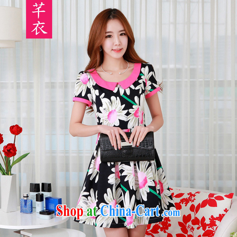 CONSTITUTION AND CLOTHING summer classic lapel short-sleeved Sun Flower stamp the word hem dress thick sister stylish sweet XL 2015 female-waist graphics thin Mrs dresses black large XL 2 130 - 145 jack
