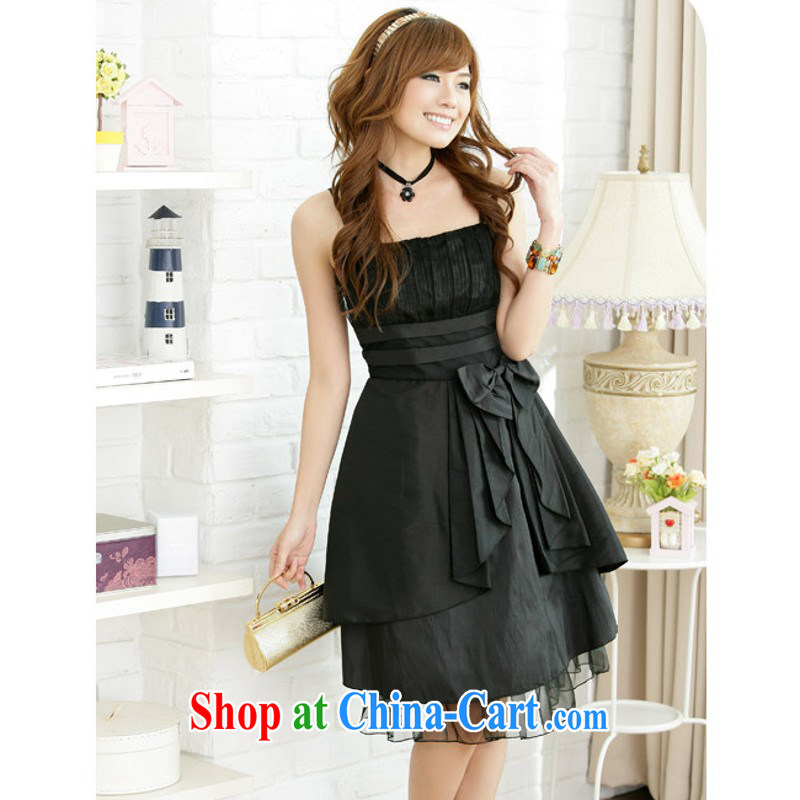 The delivery package as soon as possible-king, the strap dresses 2015 new summer bow-tie-waist and elegant style lady small dress Evening Dress dress black XXXL approximately 170 - 190 jack