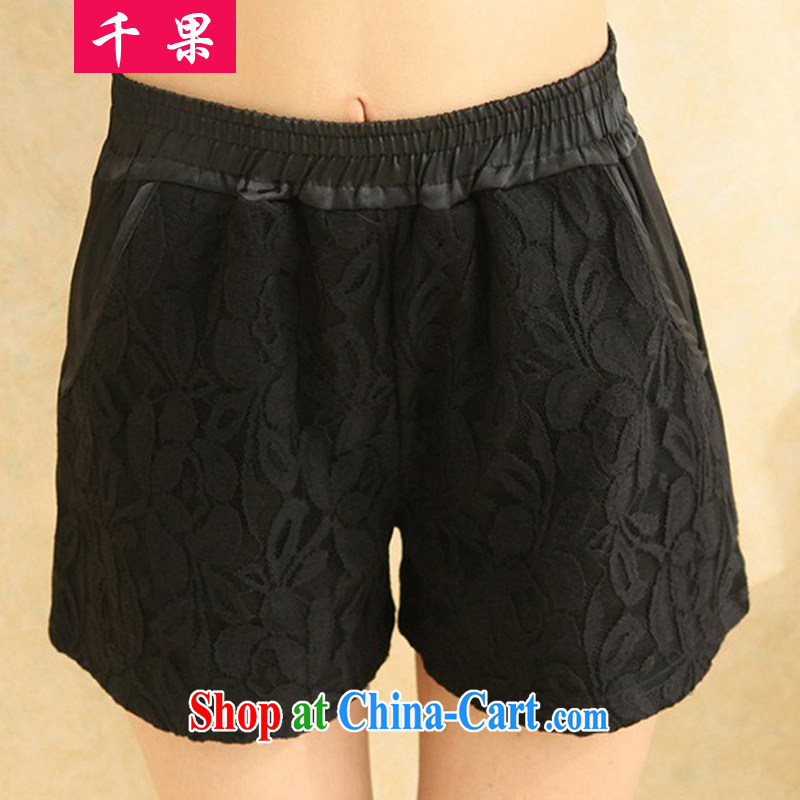 1000 fruit 2015 summer women new Korean lace shorts solid short pants Elasticated waist larger pants thick mm larger female loose video thin shorts black XXXL recommendations 170 - 200 jack