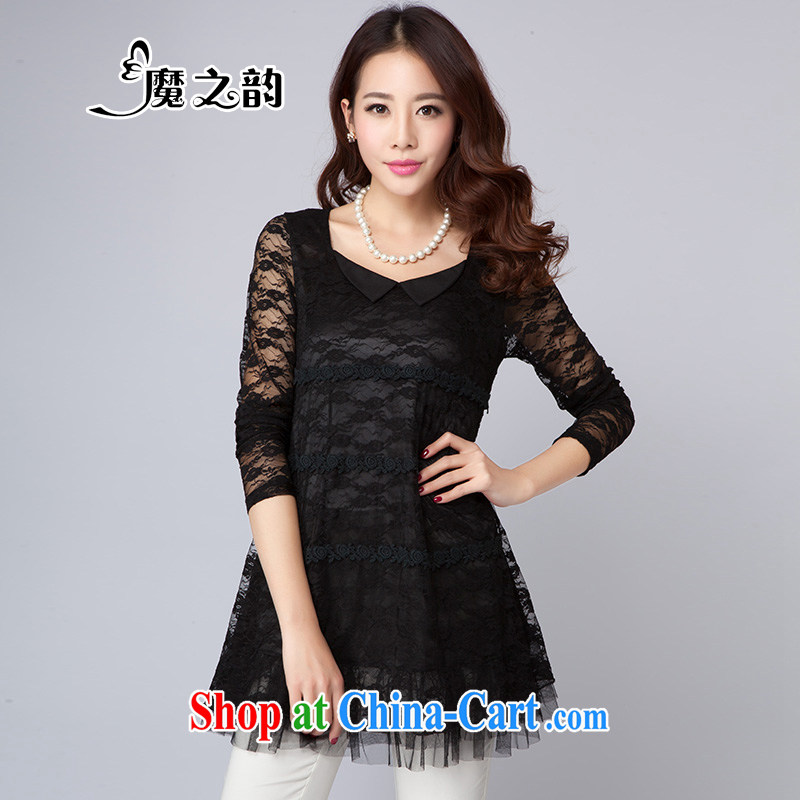 Magic of the spring and summer, the National People's Congress on code female graphics thin, dolls for Openwork lace, long lace T-shirt T-shirt 8 D 2020 black XXXL