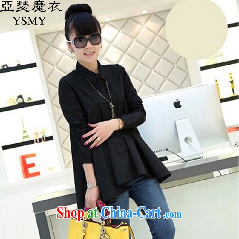 Arthur magic Yi 2015 spring new larger female Korean lapel single snap shirt, loose the code shirt female black XL