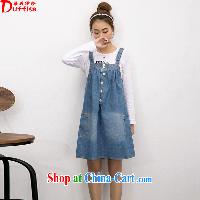 flower girl Isabelle 2015 spring and summer new Korean loose the code thick MM cowboy strap skirt straps dress female D 1559 blue XXXL