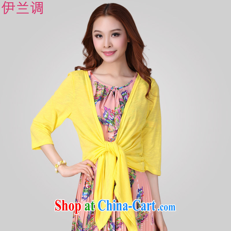 The estimated increase, female-yi AIR CONDITIONING T-shirt Han version small jacket shawl summer 2015 summer new thick mm 2079 yellow XXXL