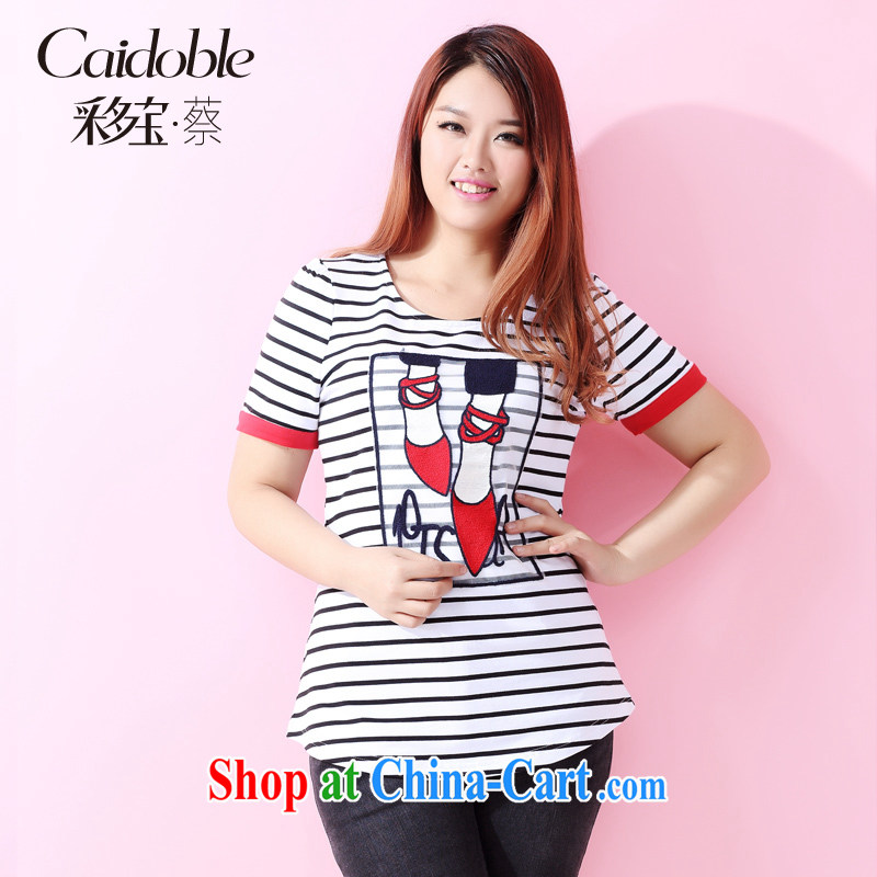 Picking a major, women 2015 spring and summer new 200 Jack thick MM stylish lounge graphics thin beauty posters striped short-sleeved shirt T female A 3527 white 3XL