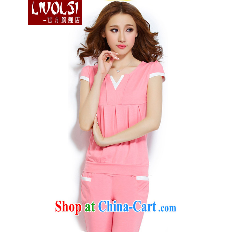 Li Wei and diverse the Code women summer 2015 new Korean short-sleeved V for sport and leisure package girls pink XXXL