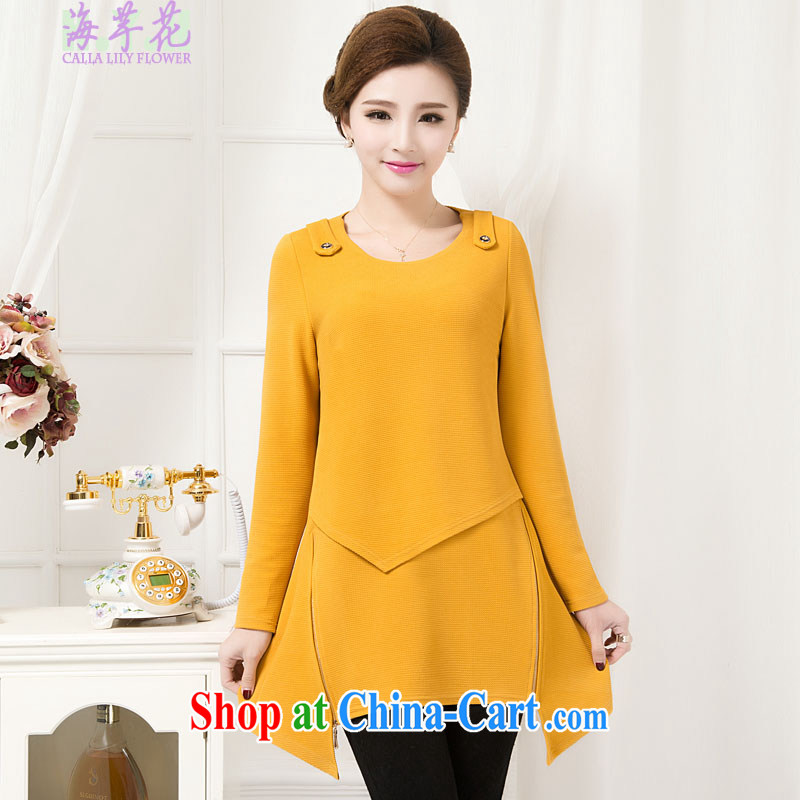 The line takes the Code women Korean new round-collar graphics thin long-sleeved, long, does not rule out the dresses spring dress, solid through 1 - 4715 deep orange 4XL