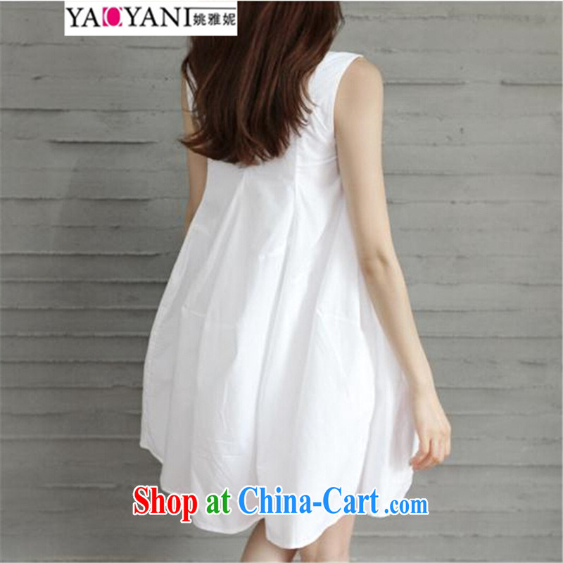 Yao her 2015 spring and summer, loose the code units the vest dresses stylish Korean white pregnant women dress sleeveless dress white XXL