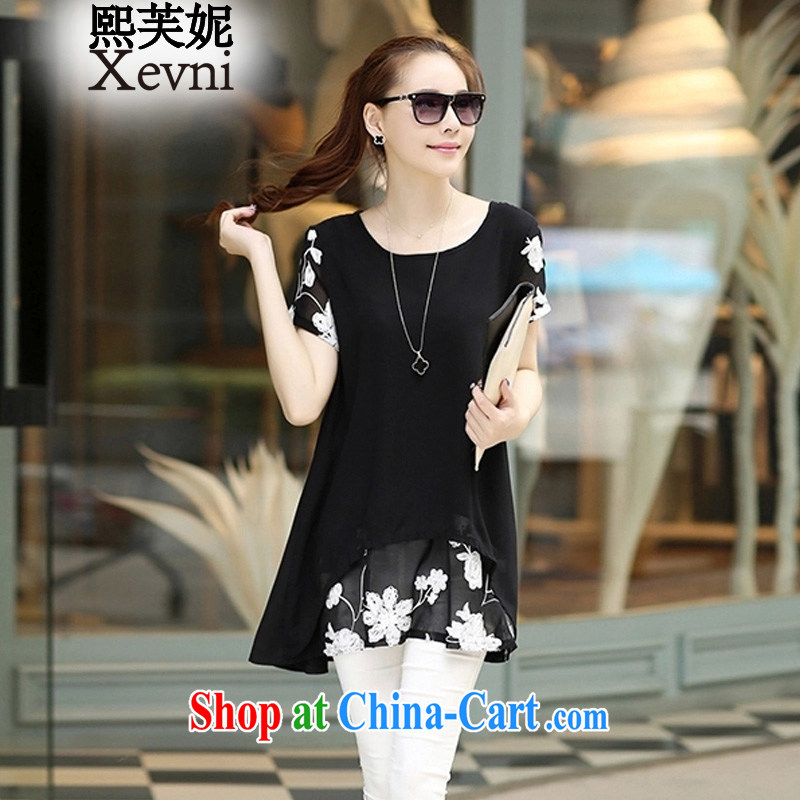 Mr Chau Tak-hay concluded her summer 2015 new loose stamp snow woven dresses larger female XF 613 black XXXL