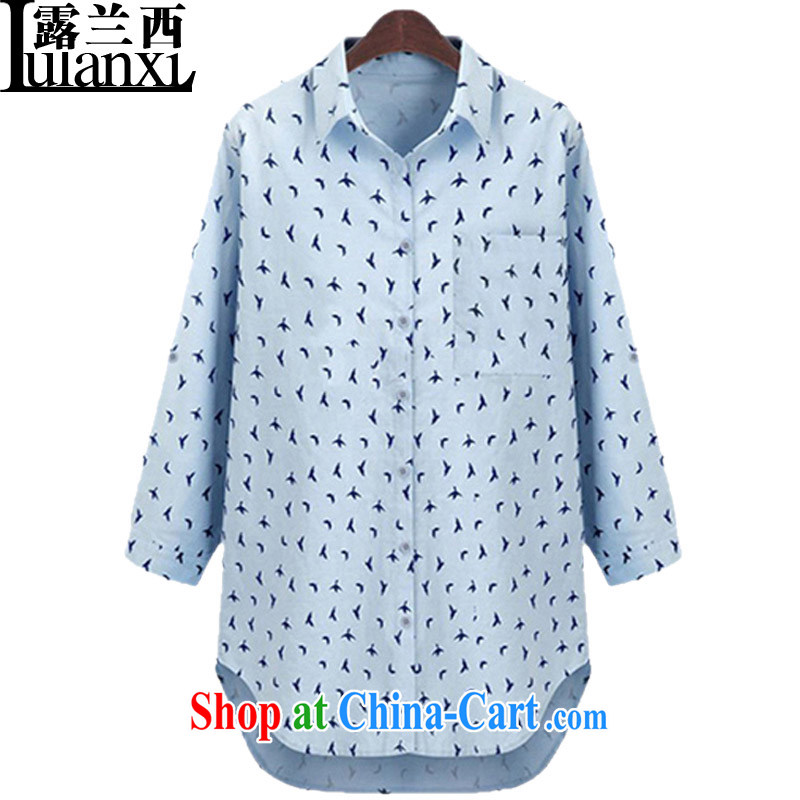Terrace Western Europe, the US, the long, long-sleeved T-shirt ladies' spring new small floral loose blouse girls blue 5 XL 180 - 200 Jack left and right
