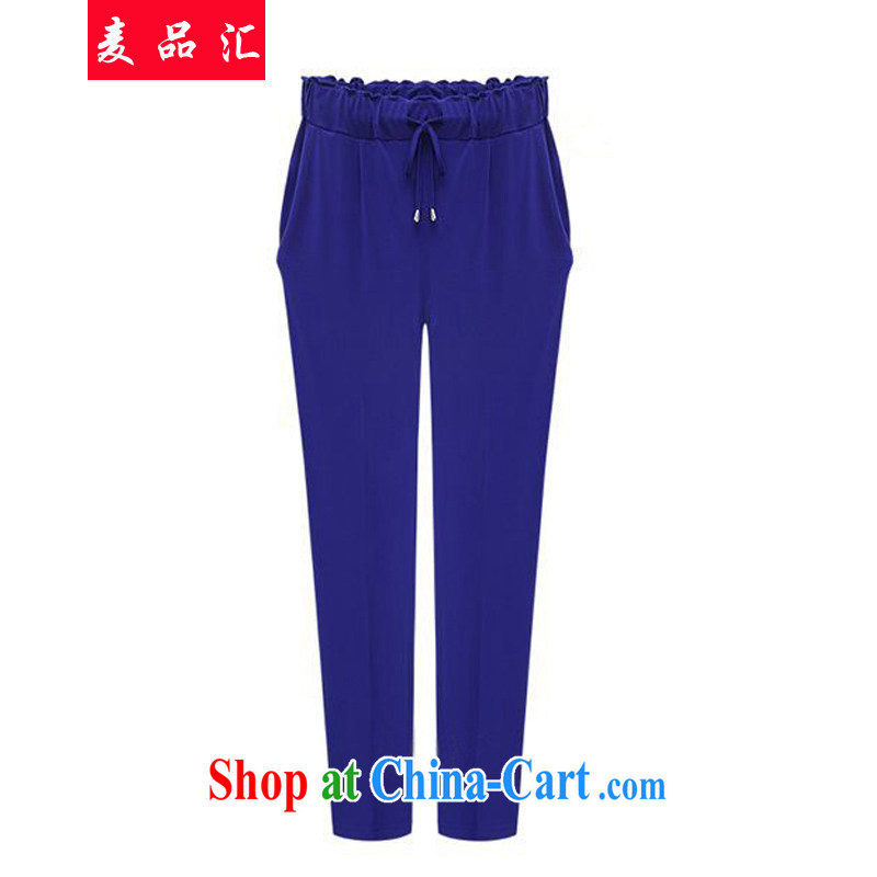 Mr MAK, Exchange 2015 Spring and Summer in Europe and America, the female Trouser Press Video thin, casual trousers thick MM spring new stylish european solid loose trousers 553 blue 6 XL